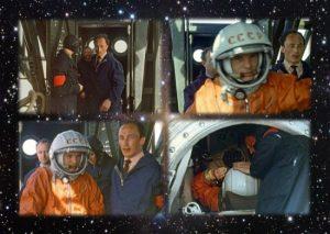 یوری گاگارین، نخستین انسانی که با فضاپیما به فضا رفت فضاپیمای وستوک از پایگاه فضایی شوروری پرتاب شد. مدار زمین