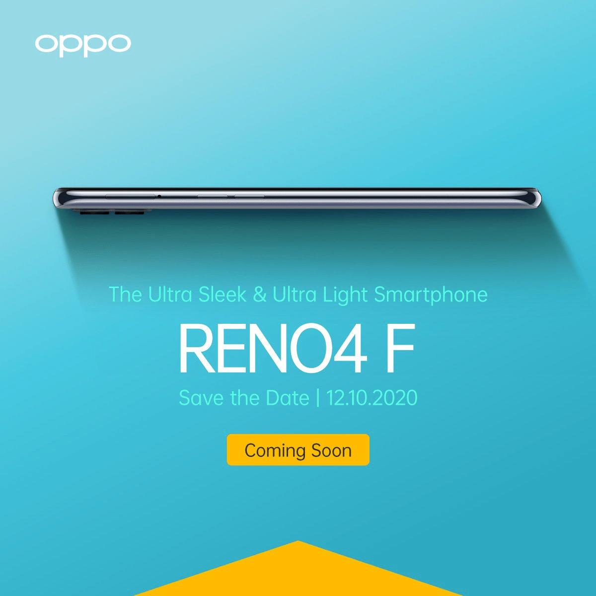 تصویر از گوشی هوشمند OPPO Reno4 F در ماه اکتبر به بازار می آید.